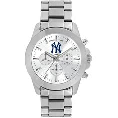 Women's Game Time New York Yankees Knockout Watch ($90) ❤ liked on Polyvore featuring jewelry, watches, silver, sports jewelry, sport watches, stainless steel jewellery, stainless steel wrist watch and water resistant watches