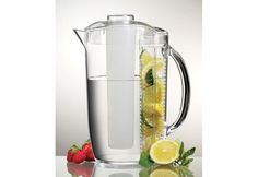 Ice Fruit Pitcher: Create your own fruit-infused water at home with this Ice Fruit Pitcher; it delivers 3 quarts of refreshing water by using your own seasonal berries, peaches, lemons and other fruits.