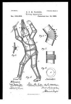 Vintage Infographic Diving Suit (1880) | Stephen Tasker