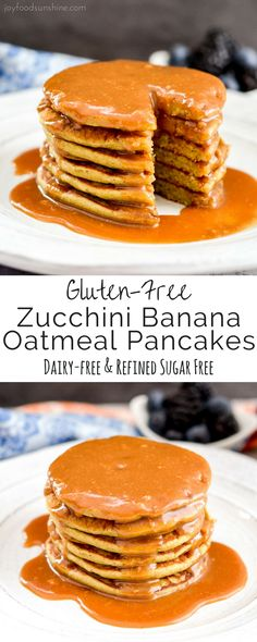 Zucchini Banana Oatmeal Pancakes! A super easy & healthy breakfast recipe made in your blender! Full of fruit and sneaky veggies! Gluten-free, dairy-free, refined-sugar free!