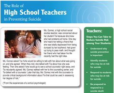 Role of High School Teachers in Preventing Suicide
