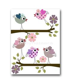 Bird Decor Art for Children Baby Nursery Decor by artbynataera
