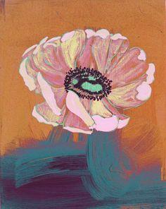 """Anemone: Melon & Crushed Velvet"" original painting by Debra Bianculli www.debrastudio.com"