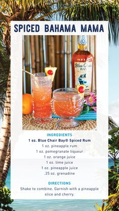 The best Bahama Mama recipe made with Blue Chair Bay Rum. This beach cocktail is great for any occasion. Shake or blend to combine. Garnish with a pineapple slice and cherry. #bluechairbay #BCBHappyHour #spicedrum