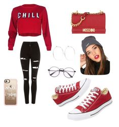"""""""Untitled #78"""" by takayla-ezell on Polyvore featuring Topshop, Converse, Moschino, NIKE, Casetify and Catbird"""