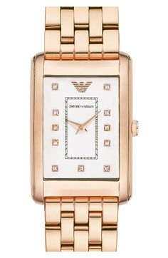 Emporio Armani Rectangle Dial Watch, 25mm x 30mm available at #Nordstrom