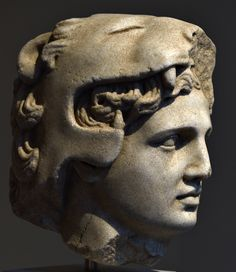 Head of #AlexanderTheGreat as young Herakles ( #Hercules) .  Culture: #Greek  Period: #Hellenistic  Date: late 4th-3rd century B.C.  Medium: Marble