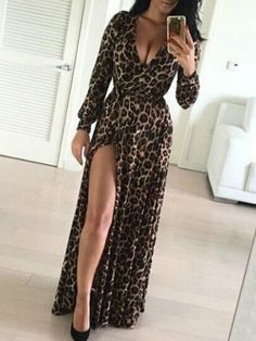 Coffee Leopard Print Draped Sashes Slit Side Deep V-neck Party Maxi Dress -  Maxi d19b6d51f
