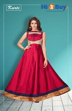 Women's Red Taffeta Kurti  #Hi2buy #OnlineShoppingDestination #Kurti #Shopping #Online