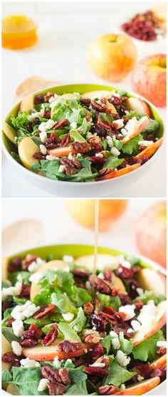 Apple Pecan and Feta Salad with Honey Apple Dressing is loaded with fall flavours and is sweet, crunchy and good for you!  via jessicainthekitchen.com