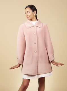 'Singin' in the Rain' 100% Wool Trench Coat in Rosa – Santinni Wool Trench Coat, Fox Fur Coat, Girly Girl Outfits, An Affair To Remember, Teddy Coat, Wool Fabric, Cashmere, Women Wear, My Style