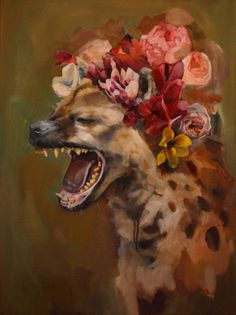 Fine Art Print of Hyena with Flower Crown by AlexandraLoesser Hyena Tattoo, Animal Drawings, Art Drawings, Wolf Hybrid, Illustration Art, Illustrations, Desenho Tattoo, Wild Dogs, Pembroke Welsh Corgi