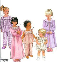 SLEEPWEAR Sewing Pattern - Easy Nightgown Pajamas PJs Robe - OOP 5 Sizes