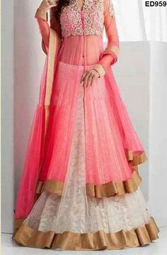 Lehenga Kameez white, pink color with gorgeous hand embroidery, choli on part and glossy,stone jari. #pretty
