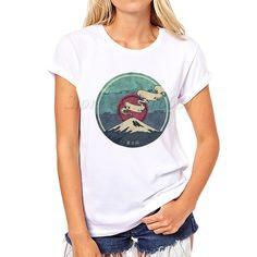 New arrive Women Summer Mount Fuji print T shirt  fashion custom Printed Tops Hot Sales vintage Tee Shirts