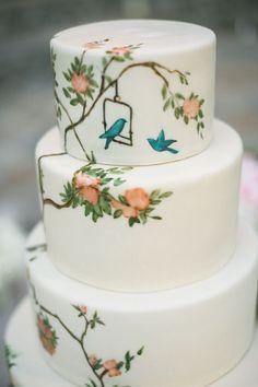 Painted wedding cake ideas,watercolour wedding cake