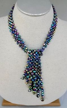 Vtg Peacock Carnival Glass Faceted Bead Woven Chunky Lariat Choker Necklace #NotSigned #ChunkyChokerLariat