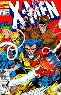 X-Men #4 cover art feat. Jubalee, Wolverine & Gambit v Omega Red by Jim Lee (Marvel comics)