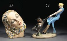 A LENCI POLYCHROME POTTERY FIGURAL GROUP