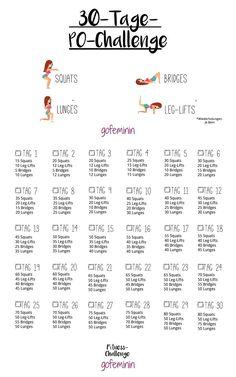 30 Days Po Challenge: In a Month to a Crunchy Po .- 30 Tage Po-Challenge: In einem Monat zu einem knackigeren Po! Po Challenge: In a month to a crisp butt! Fitness Workouts, Fitness Herausforderungen, Fun Workouts, Fitness Music, Fitness Goals, 30 Day Butt Challenge, Month Workout Challenge, Workout Schedule, Challenges
