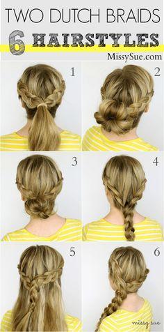 Two Dutch Braids - 6 Hairstyles | MissySue.com