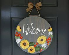Spring Door Hanger Welcome Door Hanger Sunflower Door Fall Door Hangers, Burlap Door Hangers, Diy Hangers, Painted Doors, Wooden Doors, Wooden Signs, Fall Door Decorations, Fall Decor, Feng Shui
