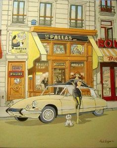 Citroen DS – John Spencer – Join in the world of pin Citroen Ds, Psa Peugeot Citroen, Classic Motors, Classic Cars, Comics Illustration, Ligne Claire, Car Posters, Poster Vintage, Car Drawings