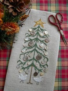 Button Tree by Drawn Thread ~ Christmas tree cross stitch with buttons as ornaments ~ *no pattern, pinning for look | via Tempus Fugit
