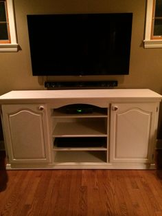 Under TV Table- Handmade using 2 kitchen cabinets.