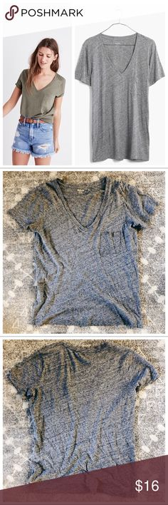 Madewell Whisper Cotton V-neck Pocket Tee This is a pocket tee from Madewell. It is in great used condition.   From Madewell: It's no secret, our best-selling pocket tee is the kind of forever favorite you'll want in every color. Fashioned of light and airy slub cotton, this V-neck T-shirt is live-in-it soft and perfectly draped—one to tell your friends about, in other words.  True to size. Size up for a slouchy fit. Cotton. Chest pocket. Machine wash. Madewell Tops Tees - Short Sleeve