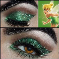 TINKERBELL! Macs emerald glitter on top of fresh flare, Swiss chocolate & folie in the crease with vanilla pigment as a highlight & fauxlash vixen lashes - @theevanitydiary- #webstagram
