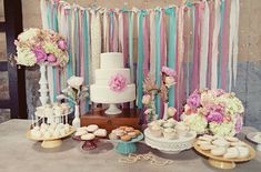 love the ribbons hanging in the background...Creative Dessert Displays Wedding Cakes Photos on WeddingWire