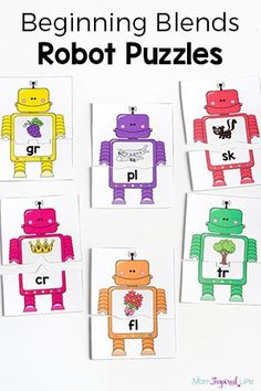 These beginning blends robot puzzles are a great for kids who are learning to read because they are hands-on and engaging. Perfect for phonics lessons!