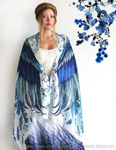Wings scarf, bohemian bird feathers shawl, Blue, hand painted, digital print, sarong, perfect christmas gifts