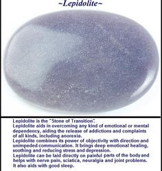 lepidolite stone (2inL) ~ healers call lepidolite the 'peace stone'; promotes restful sleep if placed near the pillow. Contains lithium. Lepidolite is not truly a gemstone, but rather a type of mica found in the U.S., Canada, Russia, Sweden, Argentina, Zimbabwe & Madagascar.