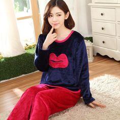 Autumn Winter Thickened Cute Print Women's Pajamas Sets Flannel Clothes Home Furnishing Lounge Sleepwear Homewear JA5053