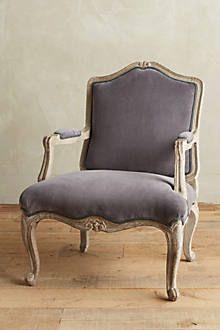grey velvet bergere chair - Google Search anthro