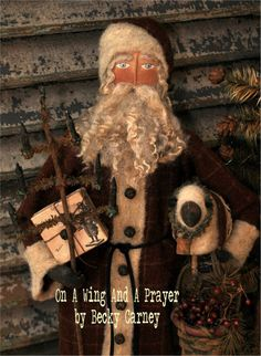 Primitive Folk Art OOAK handmade Santa... Merry by AWINGANDAPRAYER