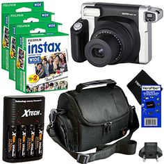 Fujifilm INSTAX 300 Wide-Format Instant Photo Film Camera (Black/Silver) + Fujifilm instax Wide Instant Film, Twin Pack sheets) + 4 AA High Capacity Rechargeable Batteries with Battery Charger + Camera Case + HeroFiber Ultra Gentle Cleaning Cloth Instax 210, Fujifilm Instax Wide, Film Photography Tips, Photography Supplies, Instant Film Camera, Camera Straps, Camera Case, Kit, Instant Photo