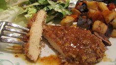 Pecan Chicken With Bourbon Sauce-so good.  Made a buffalo sauce too.