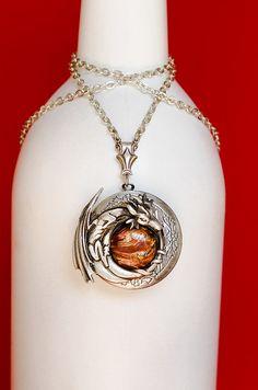 Dragon Locket Dragon Necklace Dragon Jewelry by SkeltonsTreasures