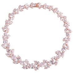 TessVanGhert Josephine Necklace-Snow White Gold Sterling silver (rose gold filled) setting with large teadrop and oval shape snow white color Cubic Zirconia necklace