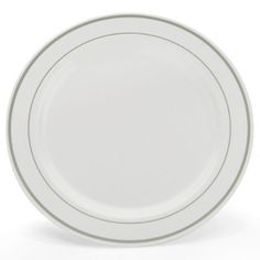 "China-Like White w/ Silver Border Premium Quality Heavyweight 10"" Plastic Plates 10 Count by Blue Sky. $12.49. Premium quality heavyweight plastic.. Design is stylish and innovative. Satisfaction Ensured.. Manufactured to the Highest Quality.. Elegant design resembles hand-painted china.. 10"" Diameter. 10 Count White plastic plates with a Silver border. Looks like real china- but is disposable."