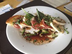 Open panini - toast, mozzarella, basil, salami @ My place