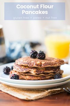 Soft and simple Coconut Flour Pancakes made with grain and nut free flours and less than 10 ingredients. Coconut Flour Pancakes, Gluten Free Pancakes, Gluten Free Breakfasts, Paleo Recipes, Sweet Recipes, Real Food Recipes, Yummy Food, Kitchen Recipes, Easy Recipes