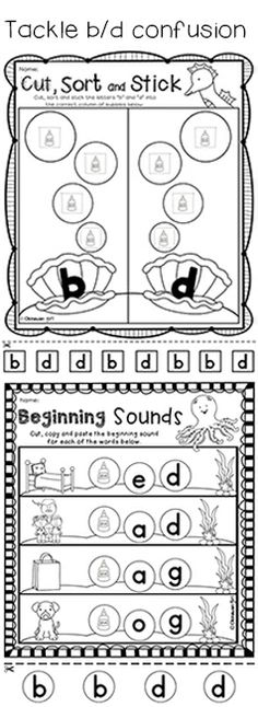 Activities to address b/d confusion. Part of June Preschool Morning Work resource by OkinawanGirl. $
