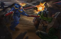 Warhammer 40K Illustration - Space Marine fighting an Ork
