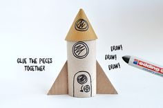 Toilet Roll Craft Rocket - Blast Off! Toilet Roll Craft, Toilet Paper Crafts, Toilet Paper Roll, Rocket Craft, Diy Rocket, Tissue Paper Roll, Rolled Paper Art, Wall E, Easy Crafts To Make