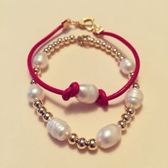 #zoecreations #combinations #pearl #red #gold #leather #jewelry #pr #pulseras #bracelets #perlas