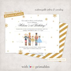 Nutcracker Ballet Watercolor | Holiday Christmas Party Birthday Baby Shower Invitations Custom Design Digital File Printable JPG